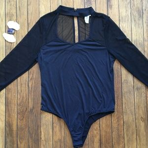 Allie Rose Black Mesh Bodysuit Size 1X